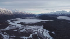 Chilkat Valley over Klehini Confluence Takshanuk Mountains Scenic Winter Aeri Stock Footage