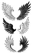 Set of Wings for Tattoo Stock Illustration