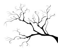 silhouette of the branch tree - stock illustration