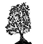 silhouette of a deciduous tree - stock illustration