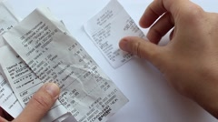Checking Receipts Stock Footage