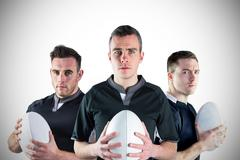 Tough rugby players - stock photo