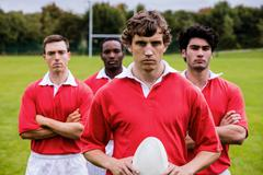 Stock Photo of Tough rugby players ready to play