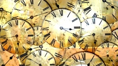 The clock mechanism. Many hours show different time Stock Footage