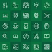 Computer repair linear icons - stock illustration