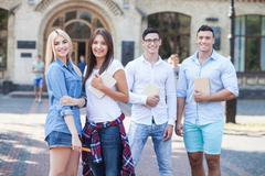 Beautiful friendly students are ready for studying Stock Photos