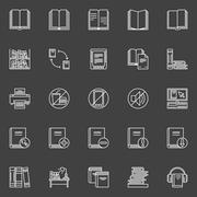 Library linear icons set - stock illustration