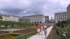 Gardens of Mont des Arts - Brussels Belgium Stock Footage