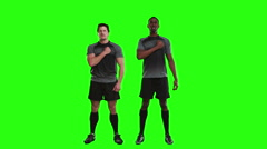 Serious rugby players singing anthem Stock Footage