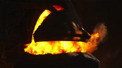 Purging metal in BOF Stock Footage