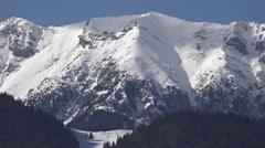 4K Beautiful mountain snowy peak panorama glacier frozen place idyllic holiday  Stock Footage