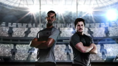 Rugby players posing behind post goal Stock Footage