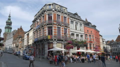 Restaurant & cafe on The Grand Place - Mons Belgium Stock Footage