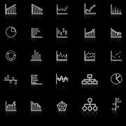 Graph line icons with reflect on black background Stock Illustration