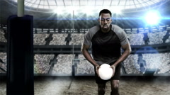 A rugby player scoring a try Stock Footage