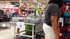 One side of people choosing sale items inside Superstore. Stock Footage