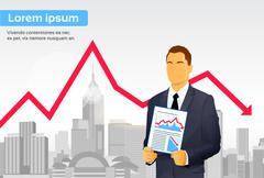Businessman Finance Graph Crisis Red Arrow Down City Skyscraper - stock illustration