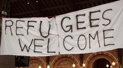 Handmade Banner Refugees Welcome Stock Photos