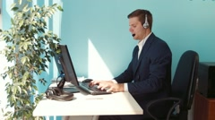 Man solves the problem of the customer call center - stock footage