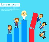 Business People Group Fall Down Financial Bar Chart Crisis Concept - stock illustration
