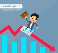 Businessman Sliding Down on Financial Chart Red Arrow Fall Crisis Concept - stock illustration