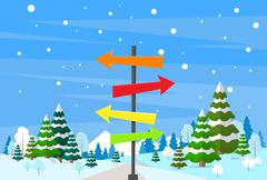 Winter Forest Landscape Sign Direction Way Signboard Arrow Christmas Background - stock illustration