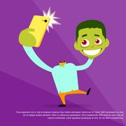 Stock Illustration of Halloween Selfie Photo Zombie Headless Hold Head in Hand Smart Phone Scary