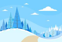Winter Forest Landscape Christmas Background, Pine Snow Trees Woods Stock Illustration