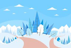 Winter Forest Landscape Christmas Background, Pine Snow Trees Woods - stock illustration