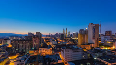 Night to Day Time lapse of Kuala Lumpur cityscape. Slide effect Stock Footage