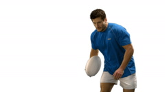 Stock Video Footage of Serious rugby player scoring try