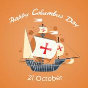 Happy Columbus Day Ship Holiday Poster Flat - stock illustration