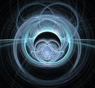 Abstract fractal design. Symmetry in blue on black. - stock illustration