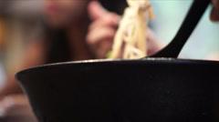 Eating ramen Stock Footage