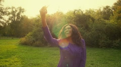 Stock Video Footage of Happy african girl have fun in sunny park laughing, fooling, slow motion.