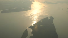 big river view from the plane - stock footage