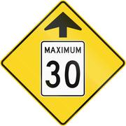 Speed Limit 30 Ahead in Canada - stock illustration