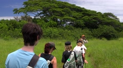 Tourists Hiking Along the Kona Coast on the Big Island of Hawaii Stock Footage