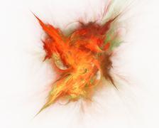 Abstract fractal design. Burst of r?d flame on white. Stock Illustration
