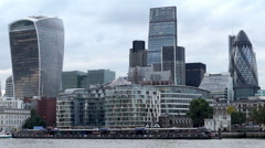City of London skyline, cheesegrater, walkie talkie and gherkin buildings. Stock Footage