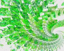 Abstract fractal design. Spiral green mosaic on white. - stock illustration