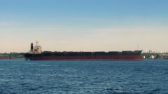 Moving Past Large Freighter Ship Stock Footage
