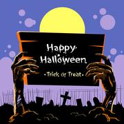 Zombie Hand Hold Board Dead Arms From Ground Graveyard Invitation Halloween Stock Illustration