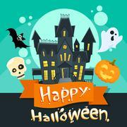 Halloween House Ghost Pumpkin Face Party Invitation Card - stock illustration