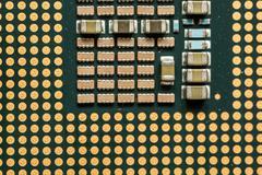 Closeup Macro of a Computer CPU Processing Chip Stock Photos