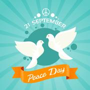 Two Dove Peace Day Holiday Poster Stock Illustration