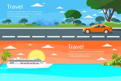 Stock Illustration of Travel Web Banner Car Drive Road, Cruise Ship Liner Tropical Island Summer