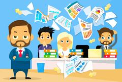 Business People Conflict Problem, Boss Team Working Throw Papers - stock illustration