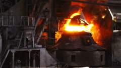 Fire during the purge of iron with oxygen Stock Footage