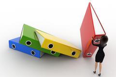 3d woman arrange big colouful files concept - stock illustration
